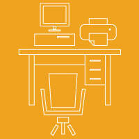 Icons of office equipment: computer, printer, desk and chair