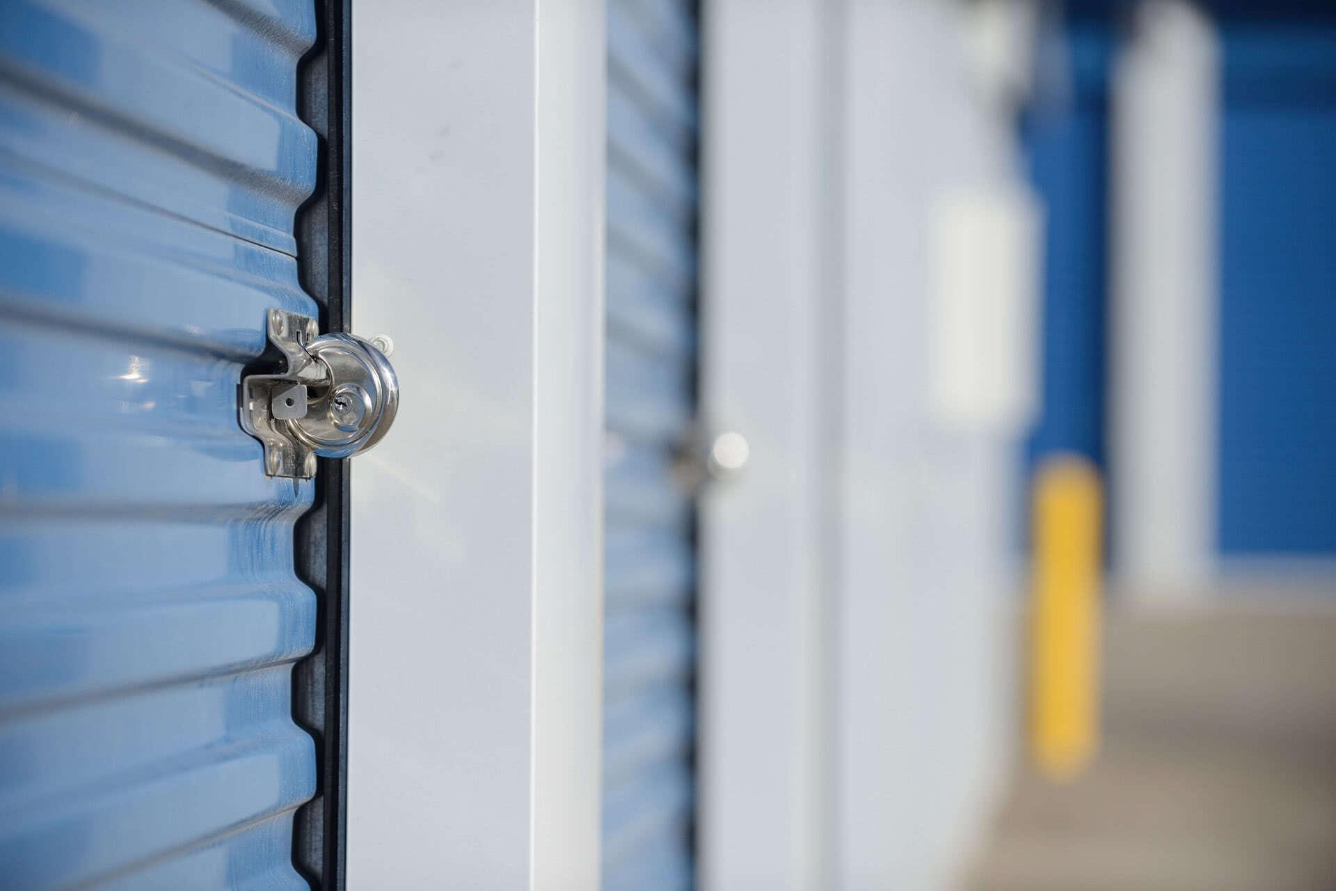Closeup of blue self storage locker