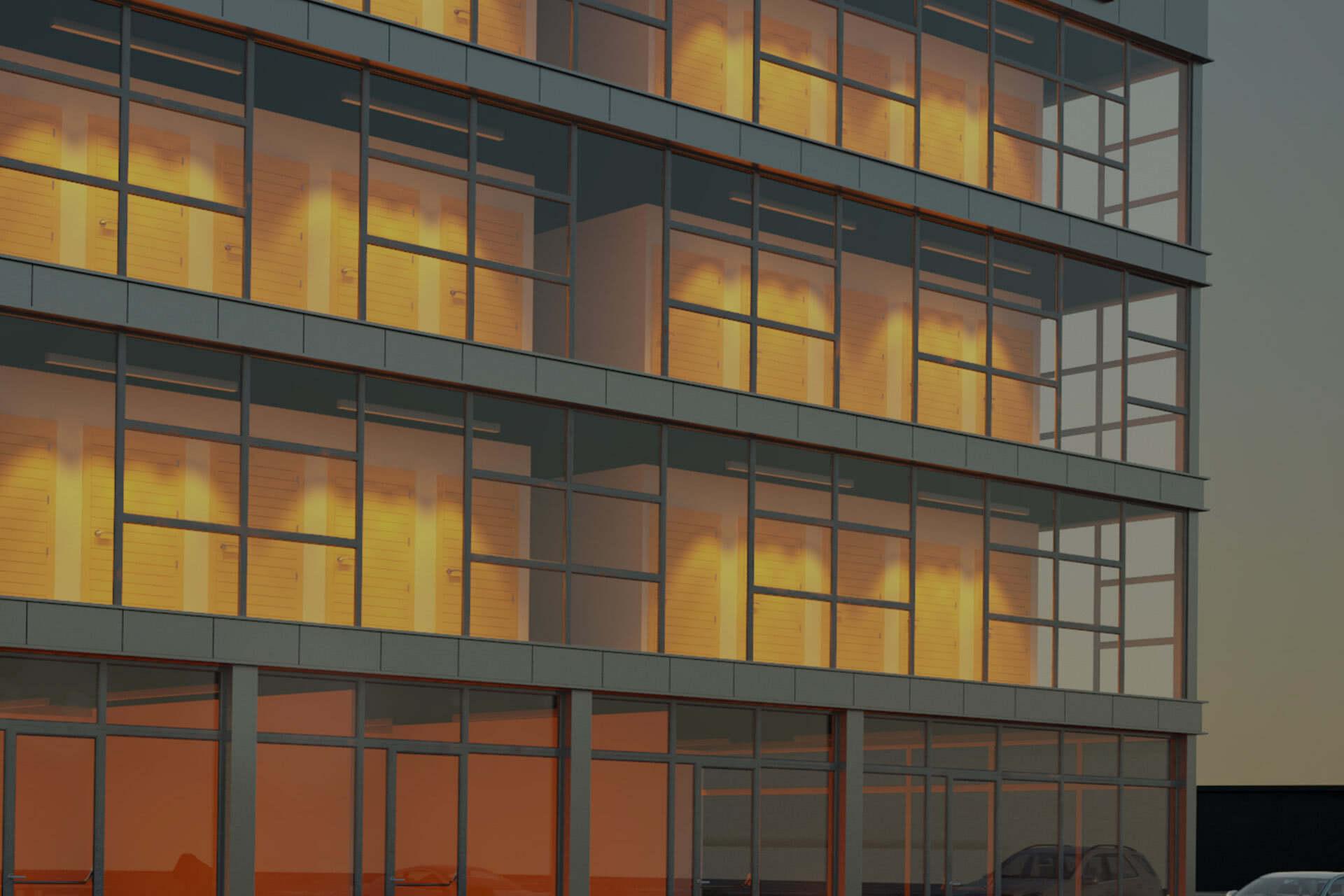 Four story self storage glass building