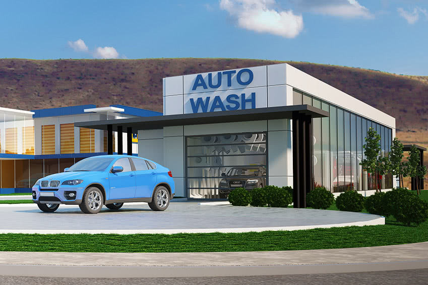 Closeup of the car wash for the Kamloops Property