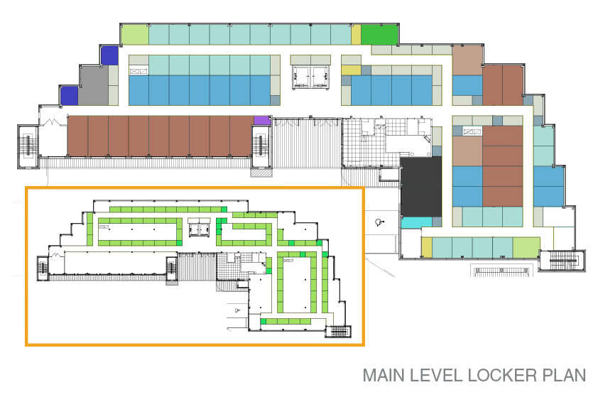 Main level locker and sky locker plan for the Kamloops facility