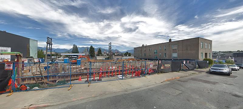 Construction formwork in progress, ground level, July 2018