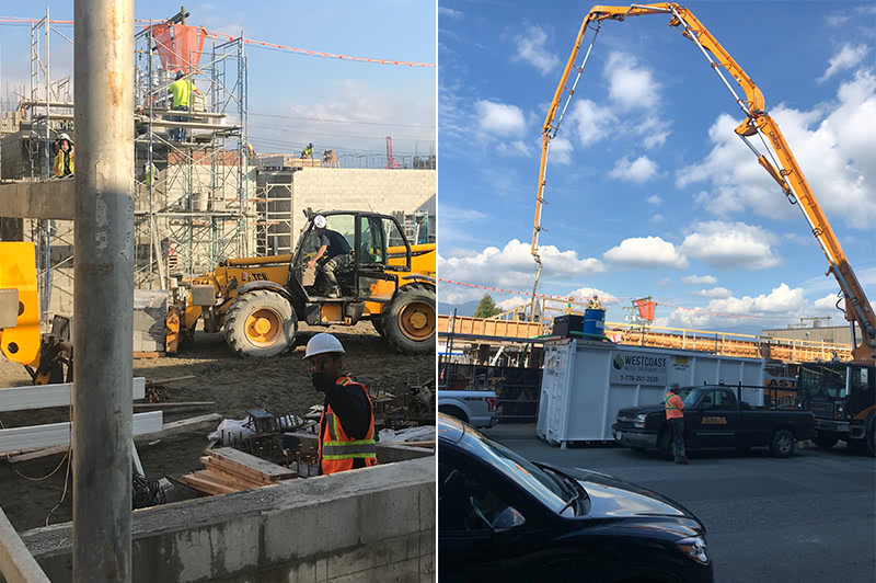 (left) Prism preparing exterior walls for second level, September 2018 (right) Construction formwork completed for concrete pouring, August 2018