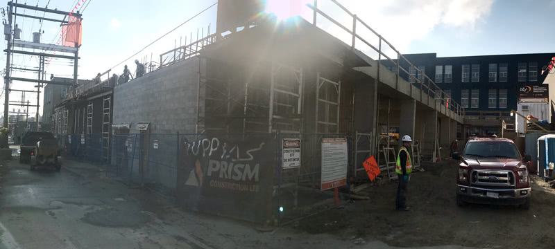Ground level exterior wall erected on the Pender Property, October 2018