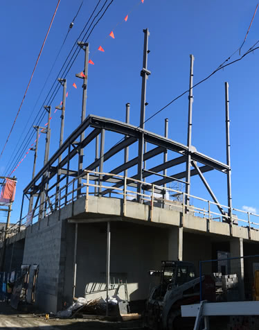 Structural steel install to level 4 on NW corner, November 2018