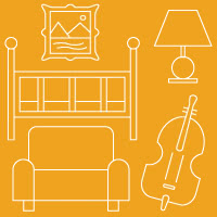 Icons of artwork, baby crib, lamp, couch and violin