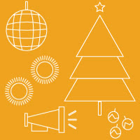 Icons of disco ball, pom poms, megaphone, christmas tree and ornaments