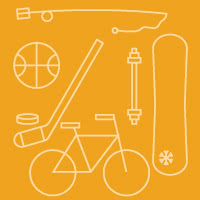 Icons of sports equipment: fishing rod, basketball, hockey stick and puck, bicycle, barbell, snowboard