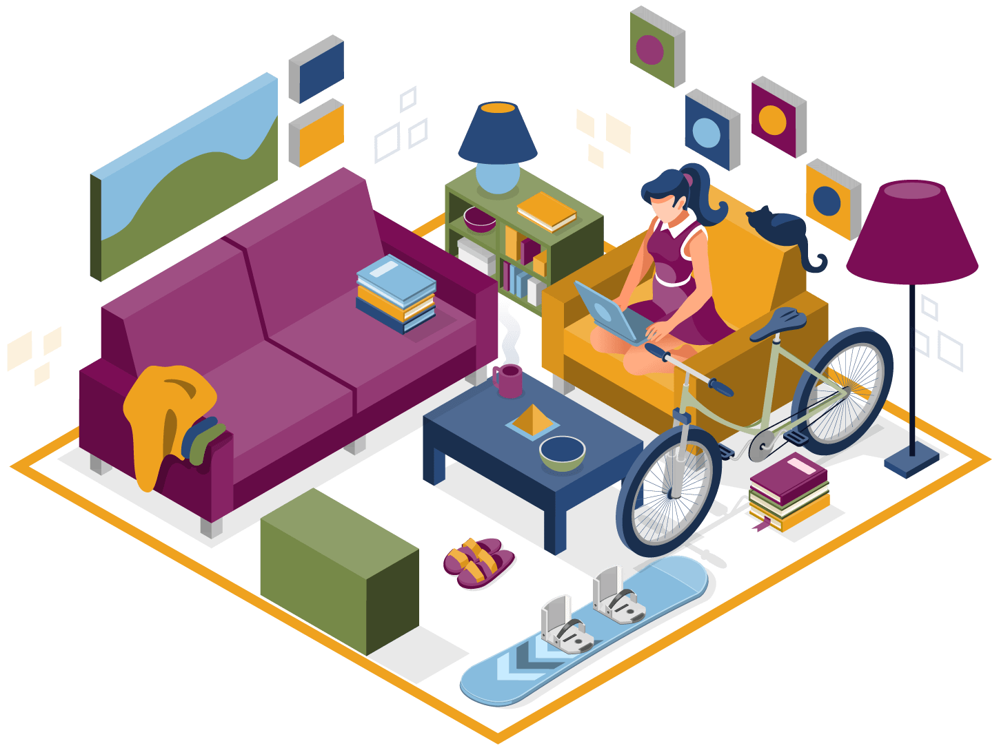 student in her dorm apartment searching on the internet for student self storage discounts