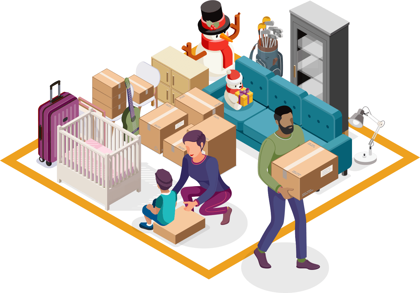Dad and mom moving family's personal items to self storage unit