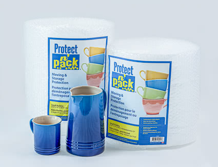 Small and large bubble wrap rolls for storage protection