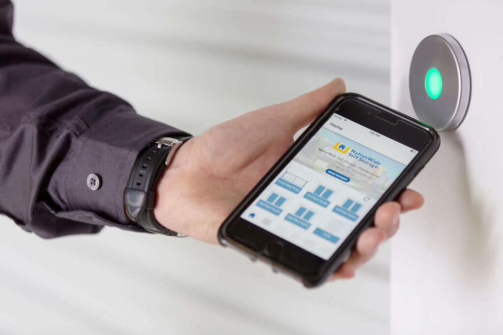 Customer accessing unit with NationWide's storage smart entry smartphone app