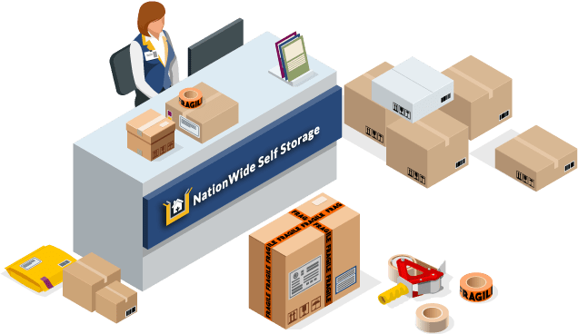 Assortment of moving and packing supplies available at NationWide Self Storage