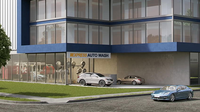 Closeup of the car wash for the Boundary Road Property. Render only. Actual facility may be different.