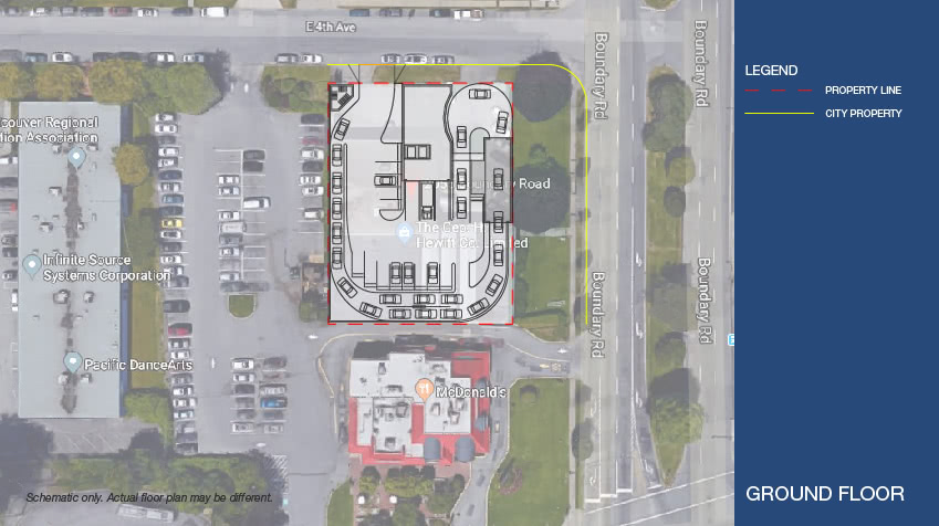 Ground level floor plan featuring the indoor car wash and store front for the Boundary Road Property. Schematic only. Actual floor layout may be different.