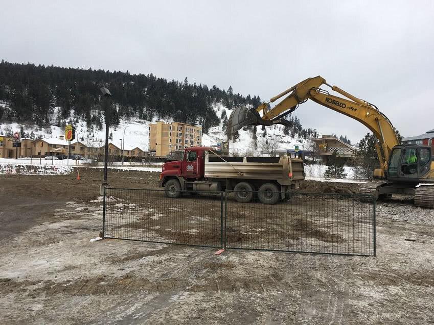 Kamloops Property Excavation Works – 2x Dump Trucks + 350 Kobelco excavator removing 4ft approx. subgrade material, February 2019