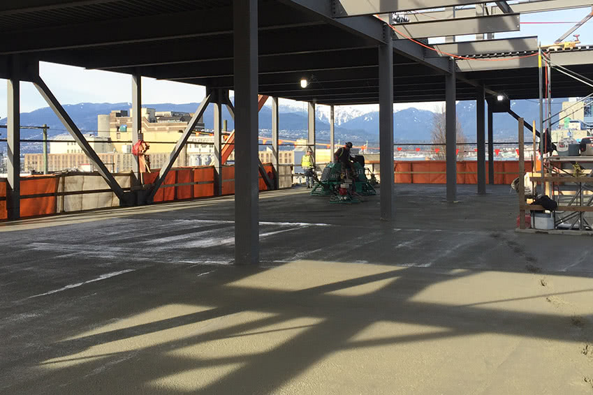 Concrete pour finished on the third floor of the NationWide Pender facility